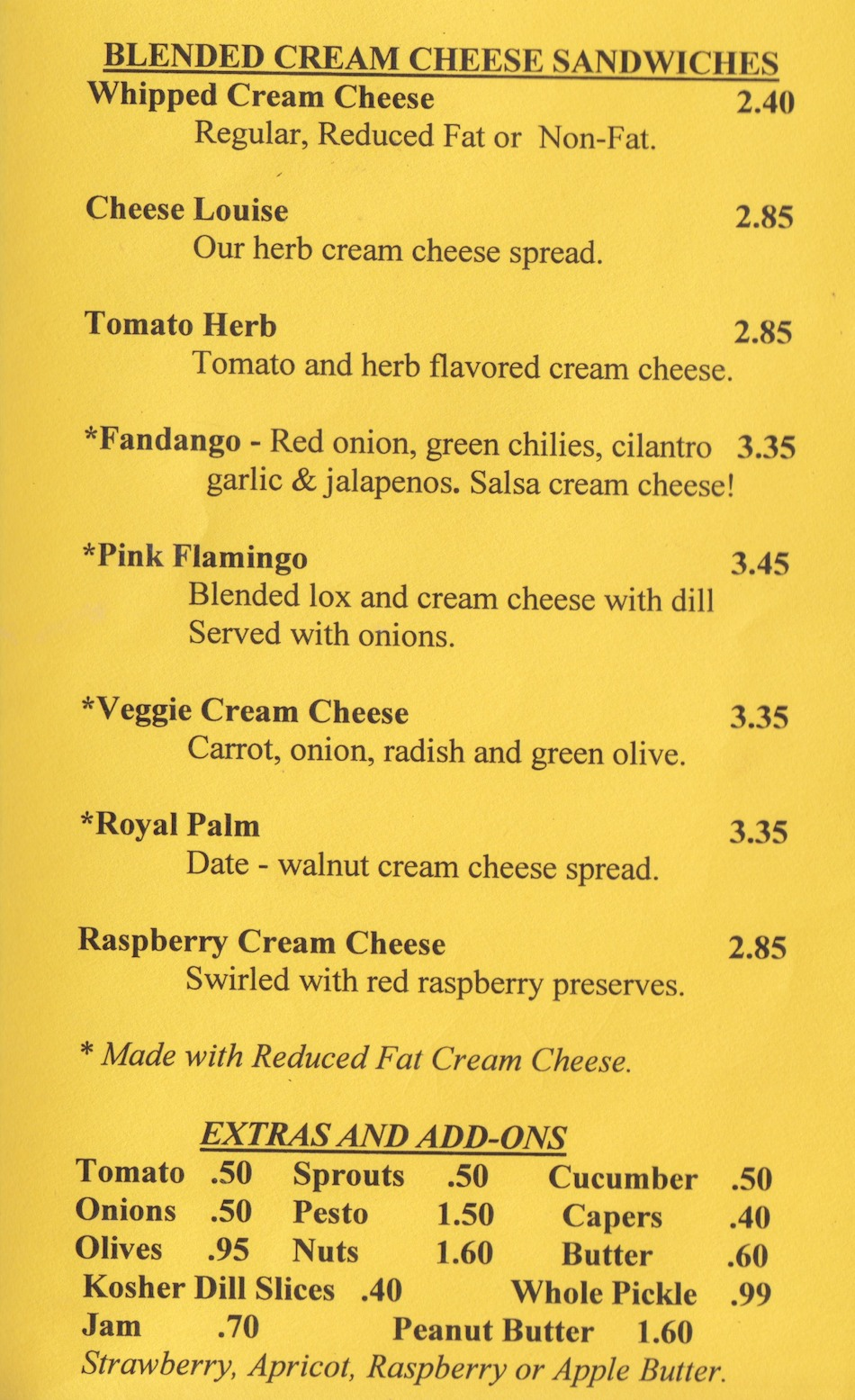 Bagelry Menu - Blended Cream Cheese Sandwiches
