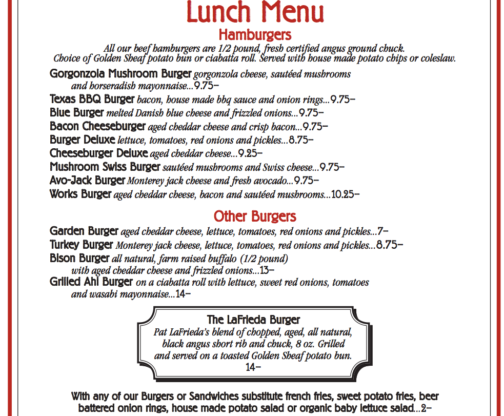 Lunch Menu - Burgers