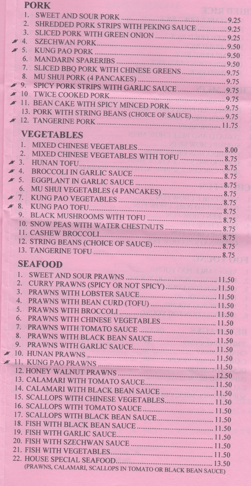 Scotts Valley Chinese Cuisine Menu - Pork Vegetables Seafood