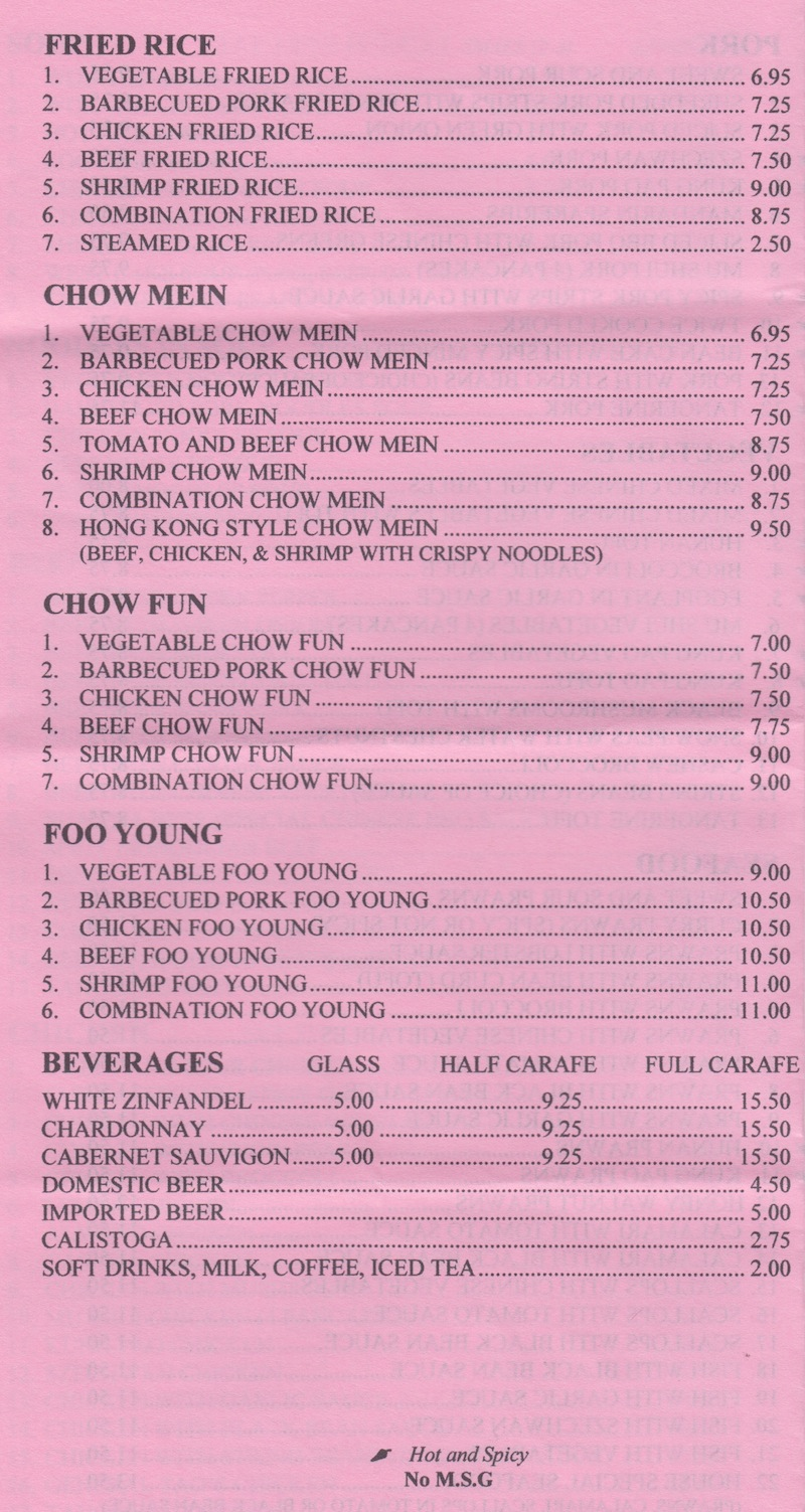 Scotts Valley Chinese Cuisine Menu - Fried Rice Chow Mein Chow Fun Foo Yung