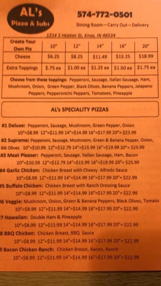 Al's Pizza Menu